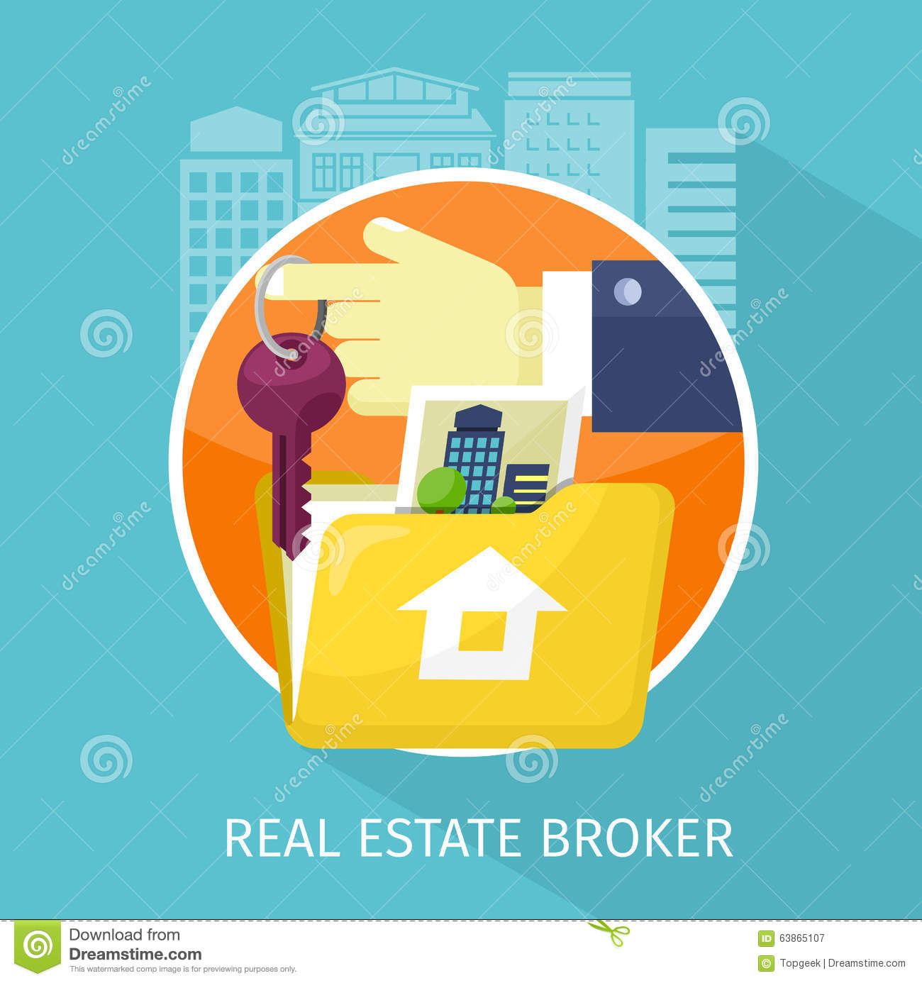 Ral Estate Brokers : Real estate broker cottage for sale vector illustration