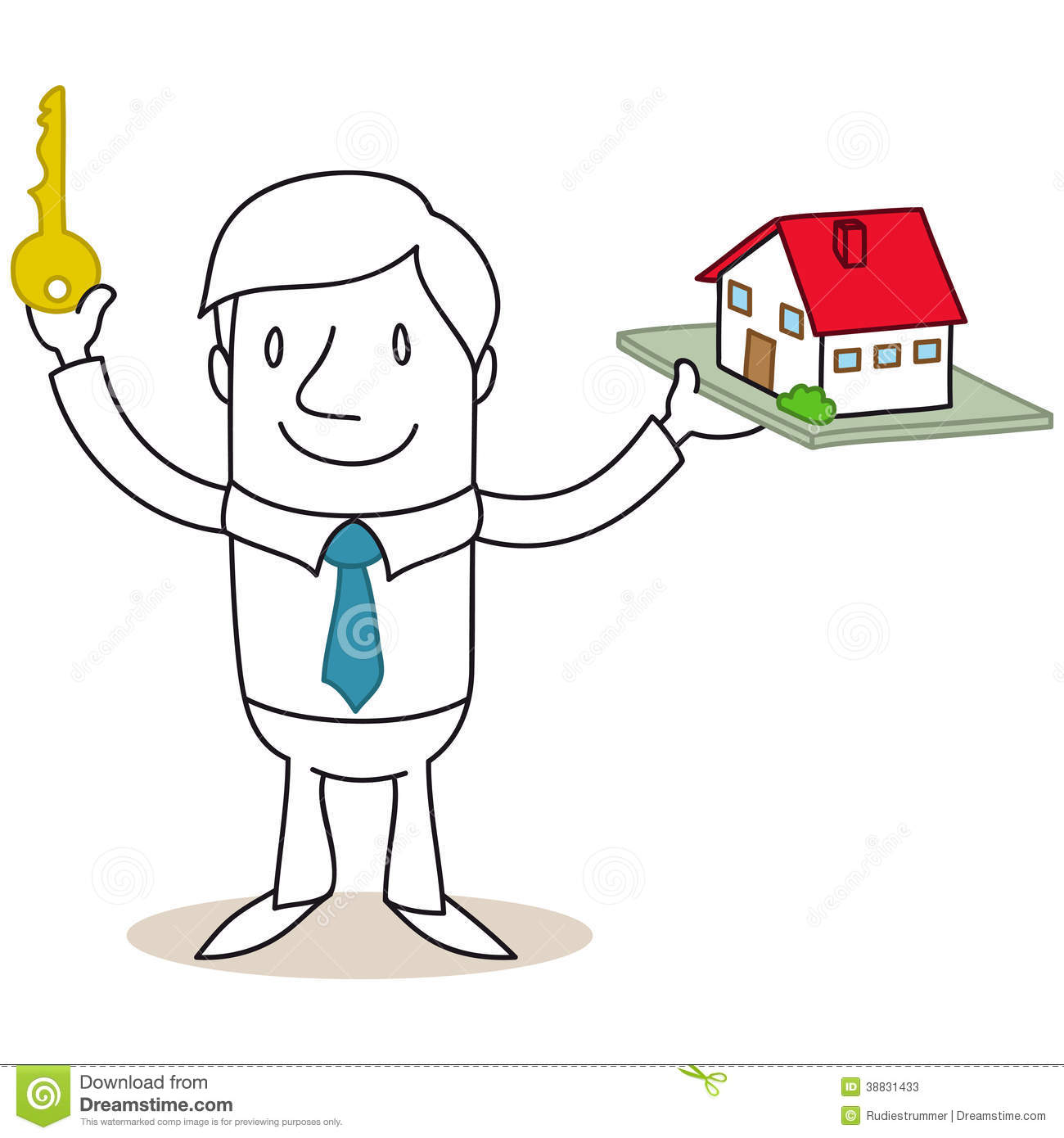 Cartoon Characters Houses : Real estate broker holding key and model house stock