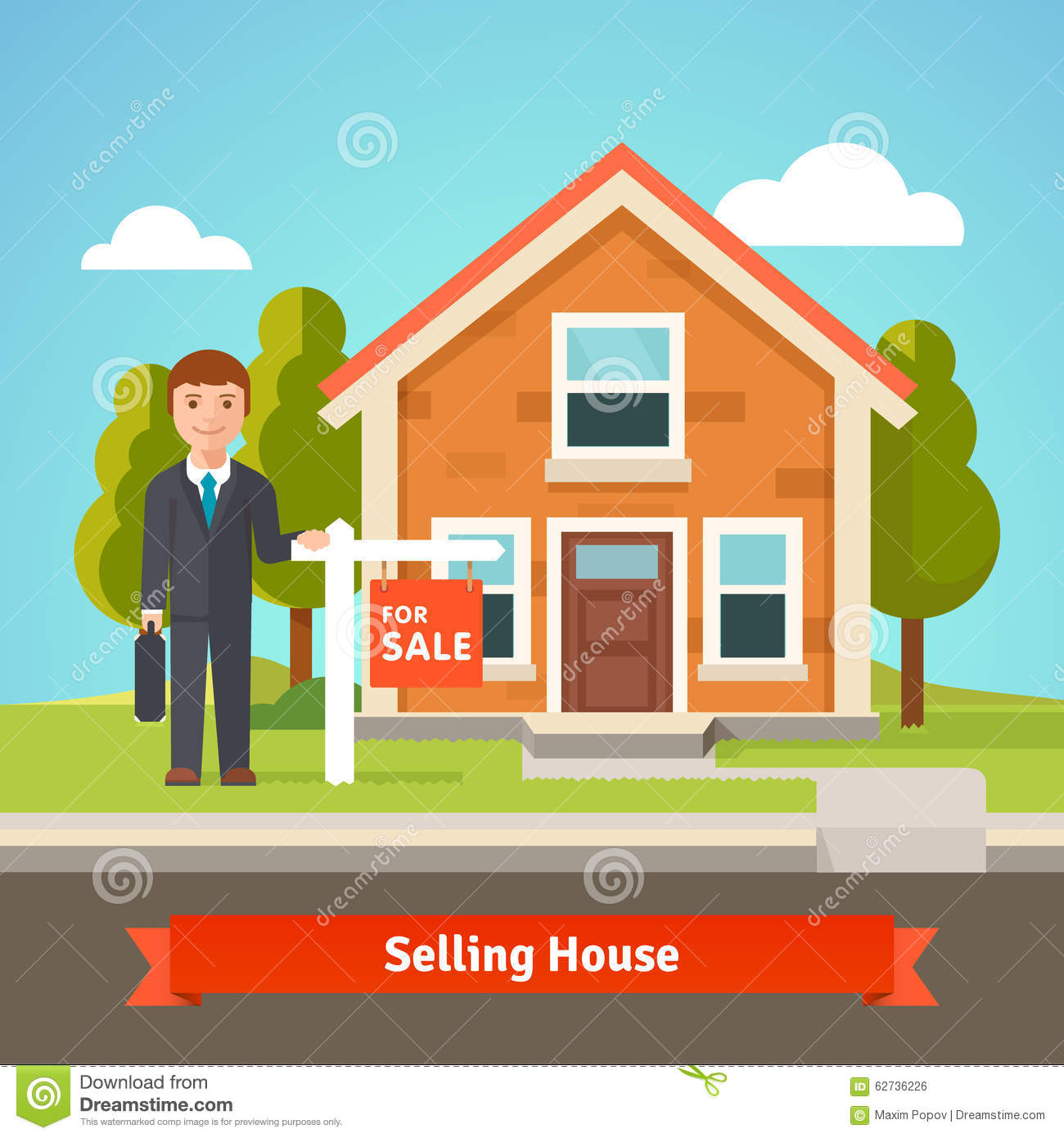 Real Estate Broker And House With For Sale Sign Stock