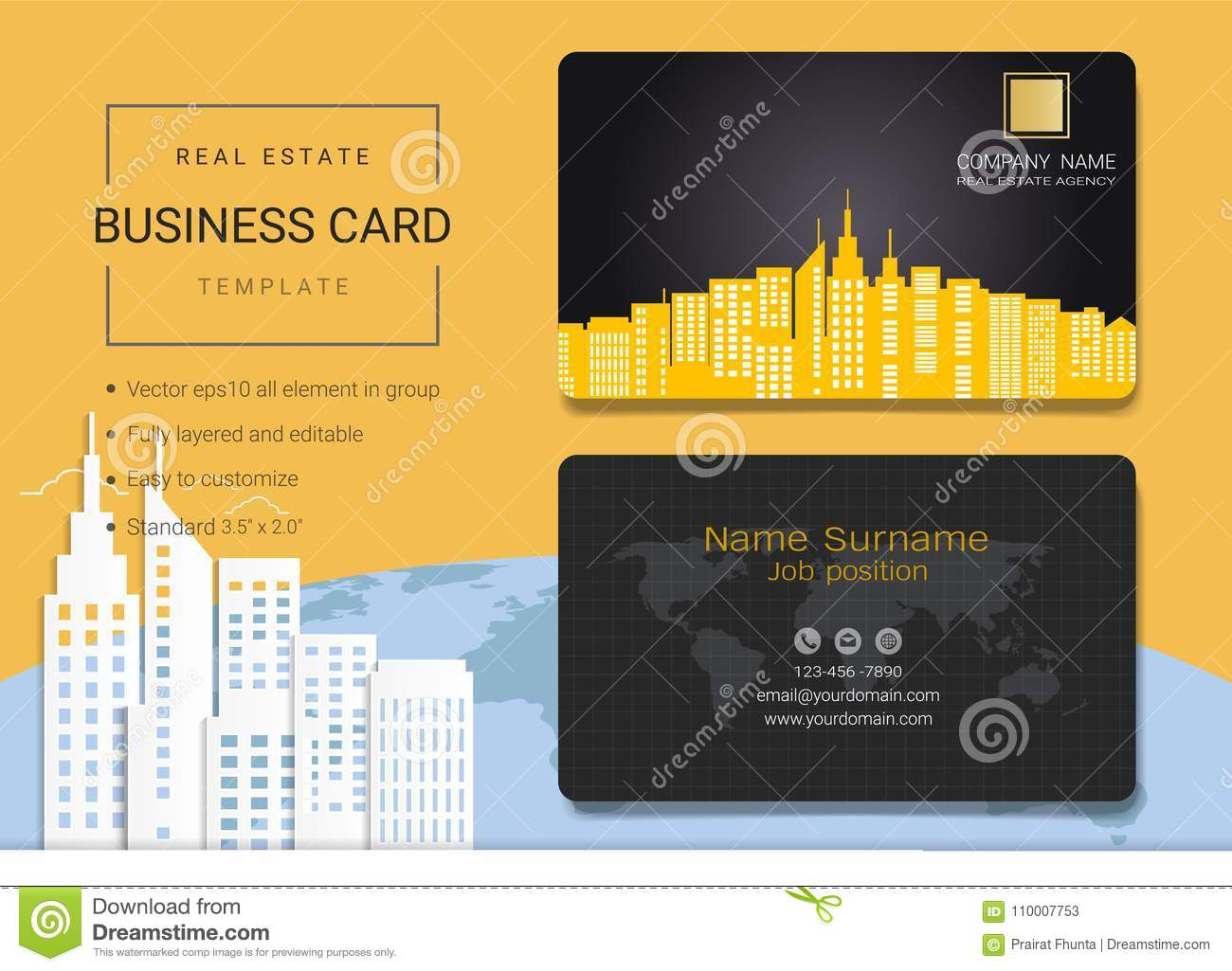 real estate business card or name card template stock vector