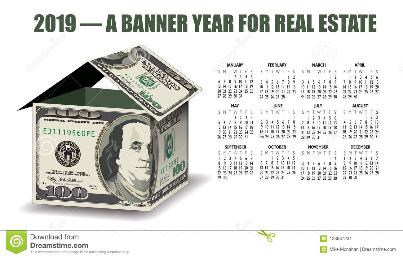 A 2019 real estate calendar with a house made of money ideal for an office poster