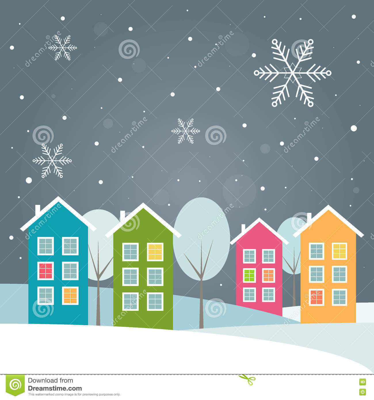 Real Estate Christmas Card With Colorful Houses Stock Vector Image 78338604