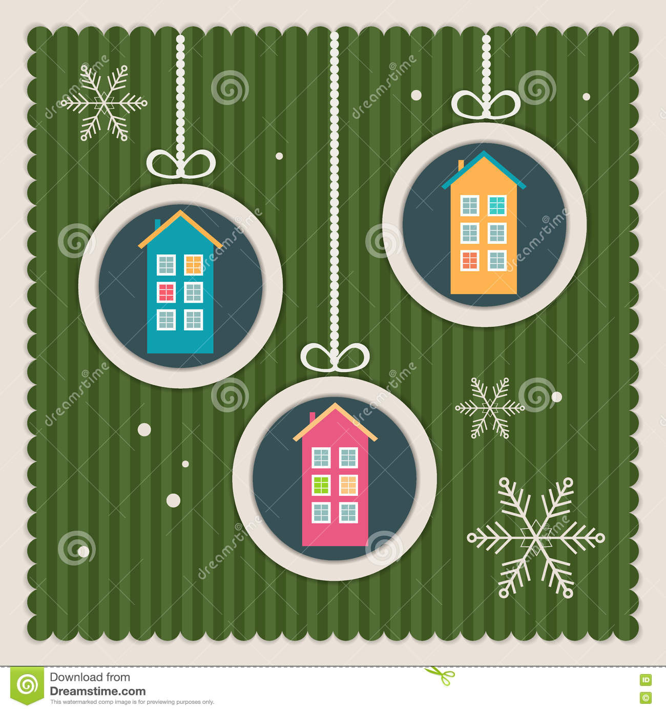 Real Estate Christmas Card With Colorful Houses And Snowflakes Stock