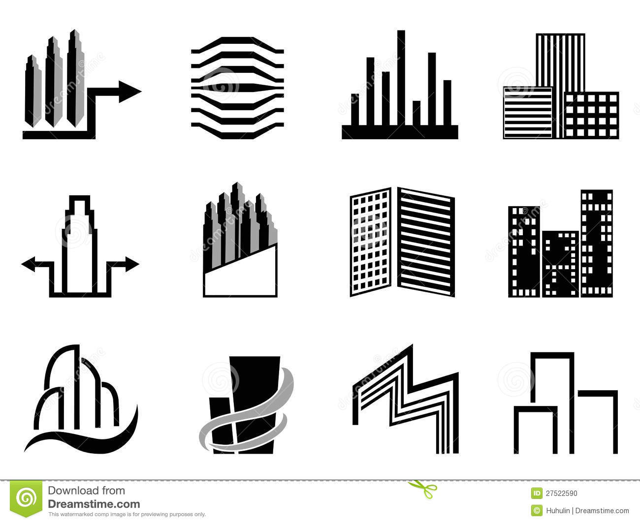 The collection of Real estate and city buildings symbol on white ...