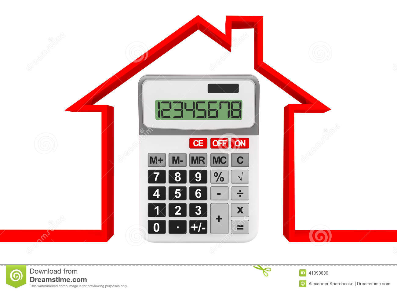 Real estate concept abstract house with calculator stock for Building a home calculator