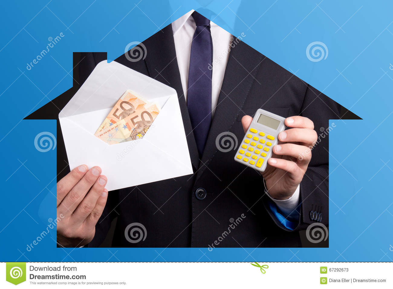 real estate concept business man holding envelope with money a
