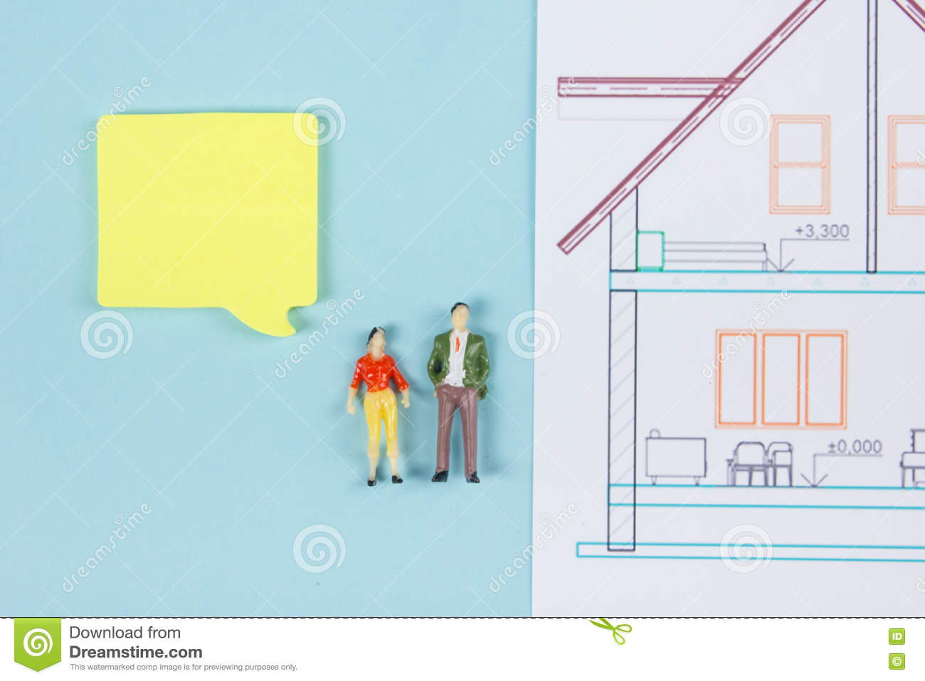 Real estate concept construction building blank speech bubbles blank speech bubbles people toy figures paper model house blueprints with key on blue architect desk table background top view copy space for ad text malvernweather Image collections