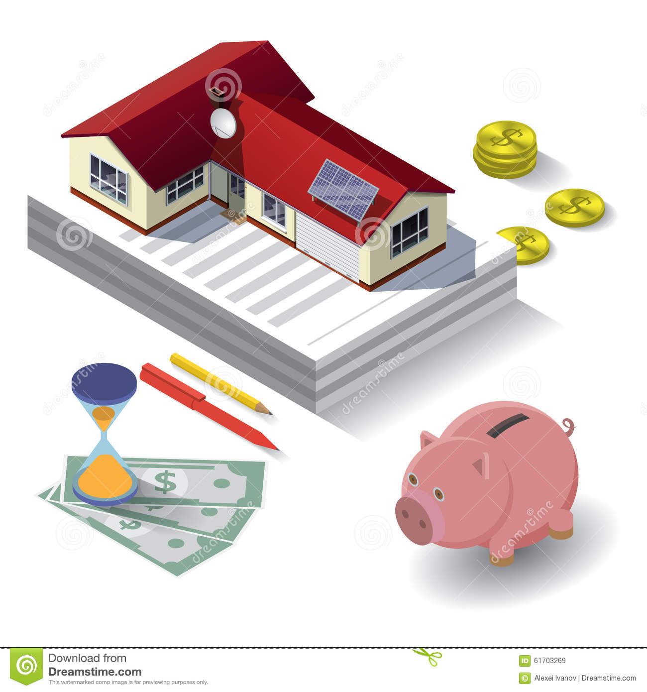 Rental And Pricing Information: Real Estate Concept Illustration. Stock Vector