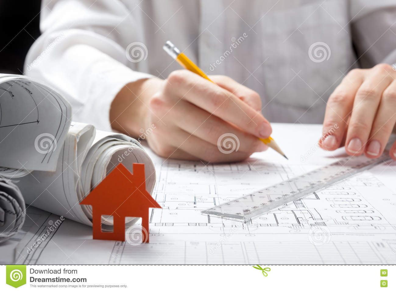 Real estate concept paper house figure and blank business card paper house figure and blank business card reheart Gallery