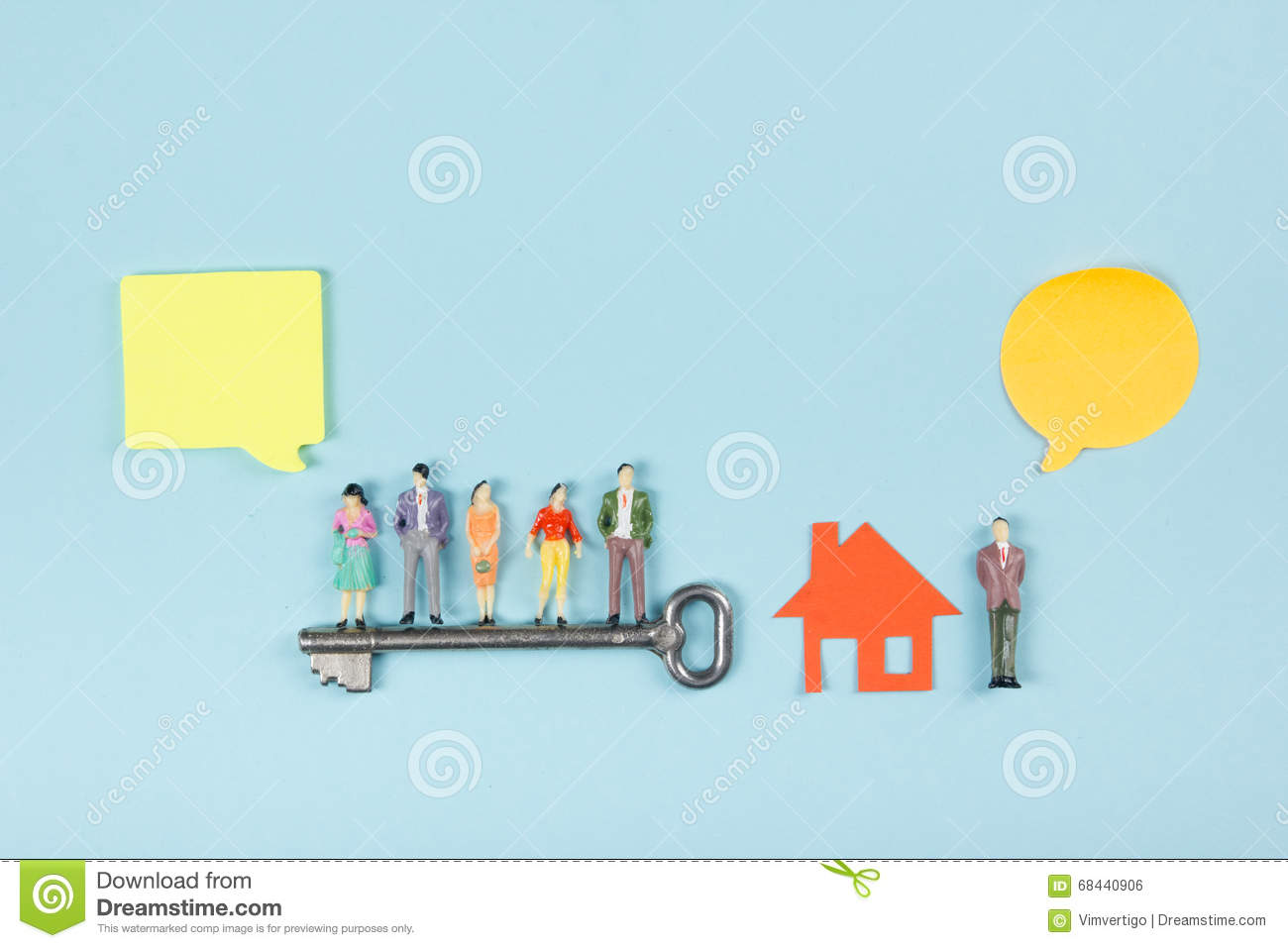 Text Bubble Toys For Tots : Real estate concept speech bubbles and people toy figures