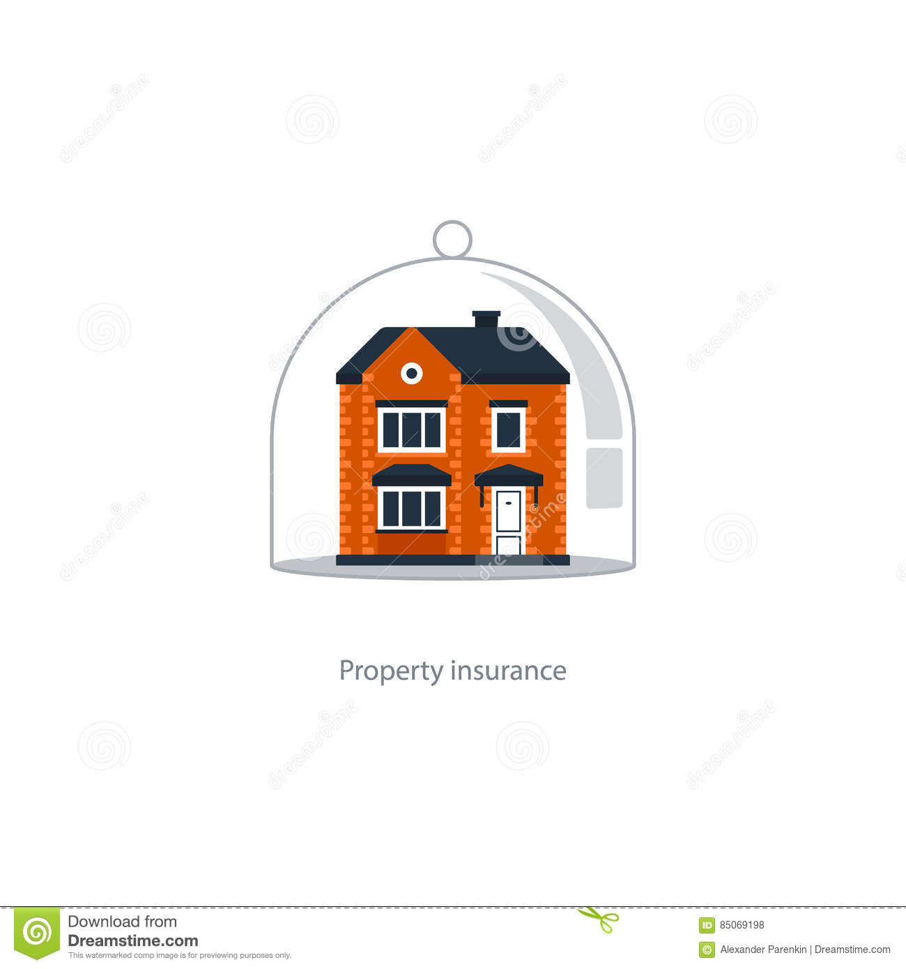 Real Estate Coverage Icon, Protection System, Security, House