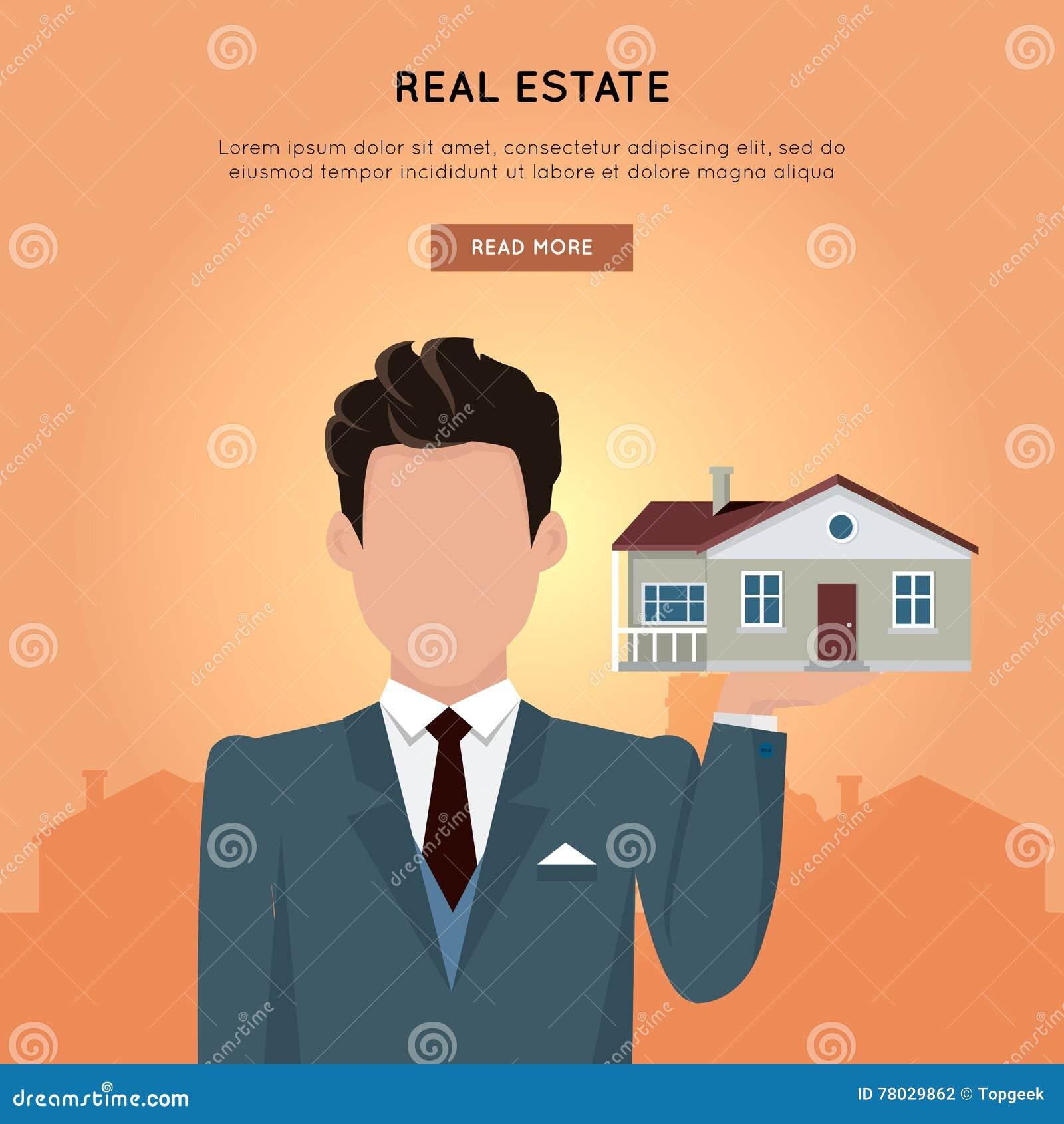 Real Estate dirigent la bannière de Web dans la conception plate