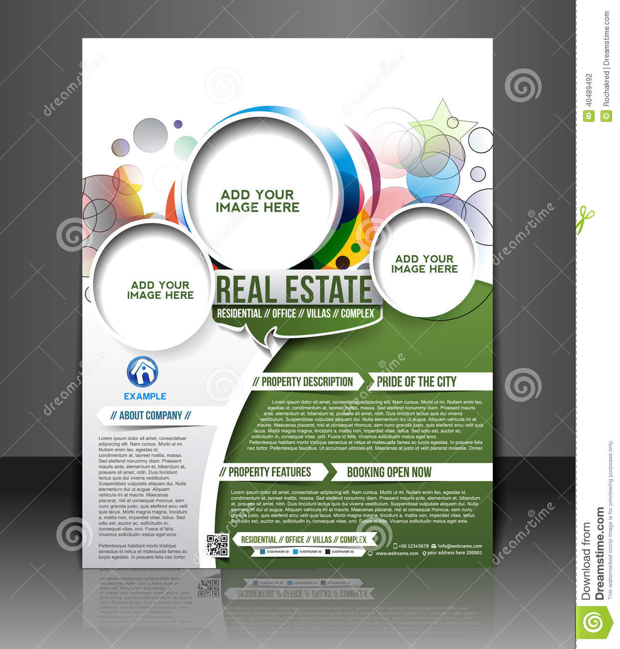 Real estate flyer design stock vector image 40489492 for Real estate craigslist template