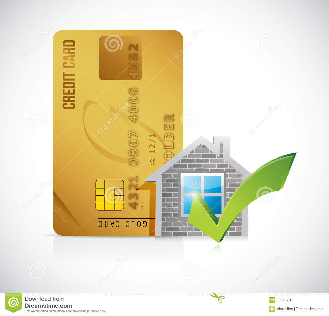 Real Estate Home Approve Credit Card Stock Illustration