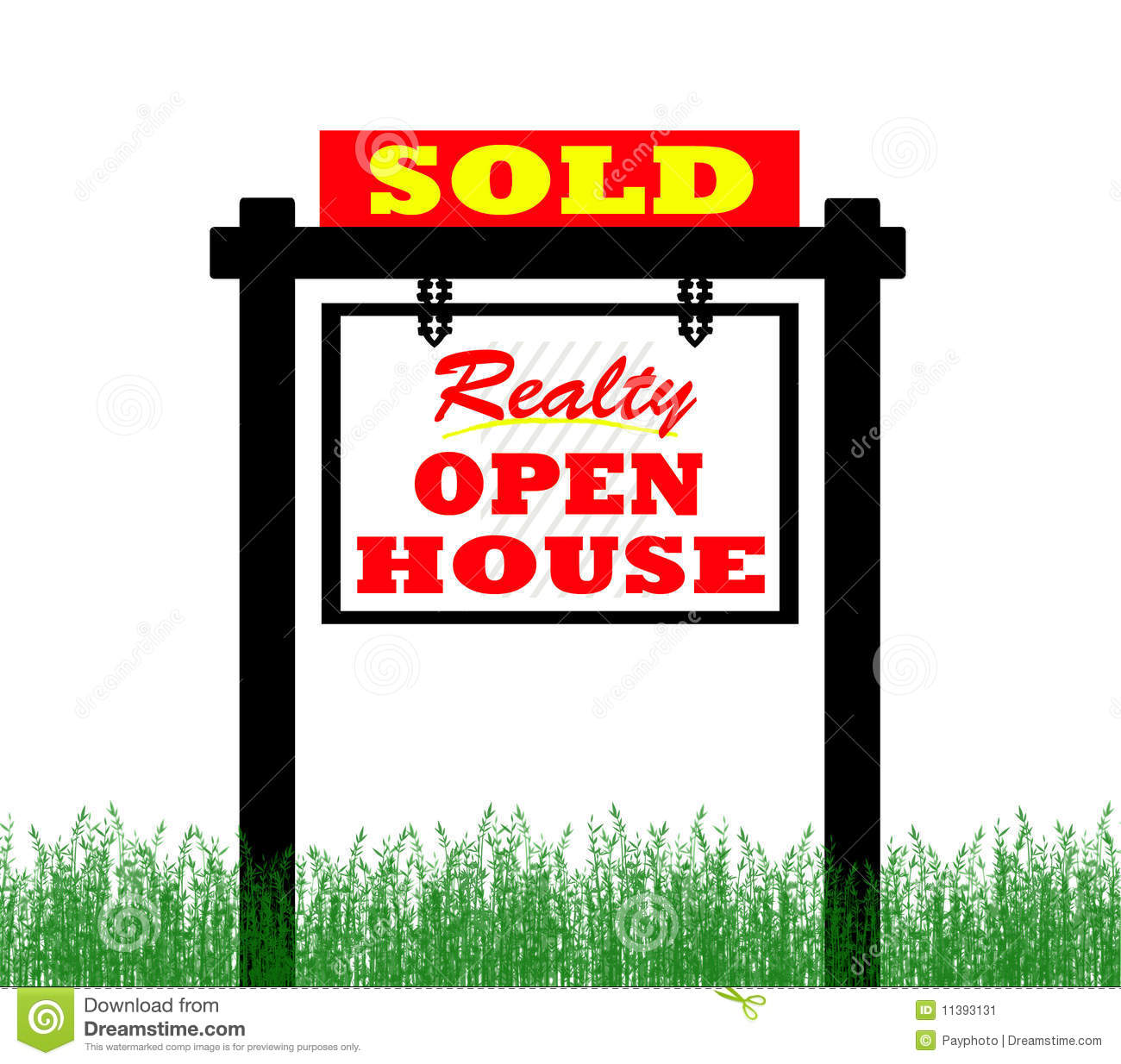 For Sale Sold Sign: Red Sold For Sale Real Estate Sign And House Royalty-Free