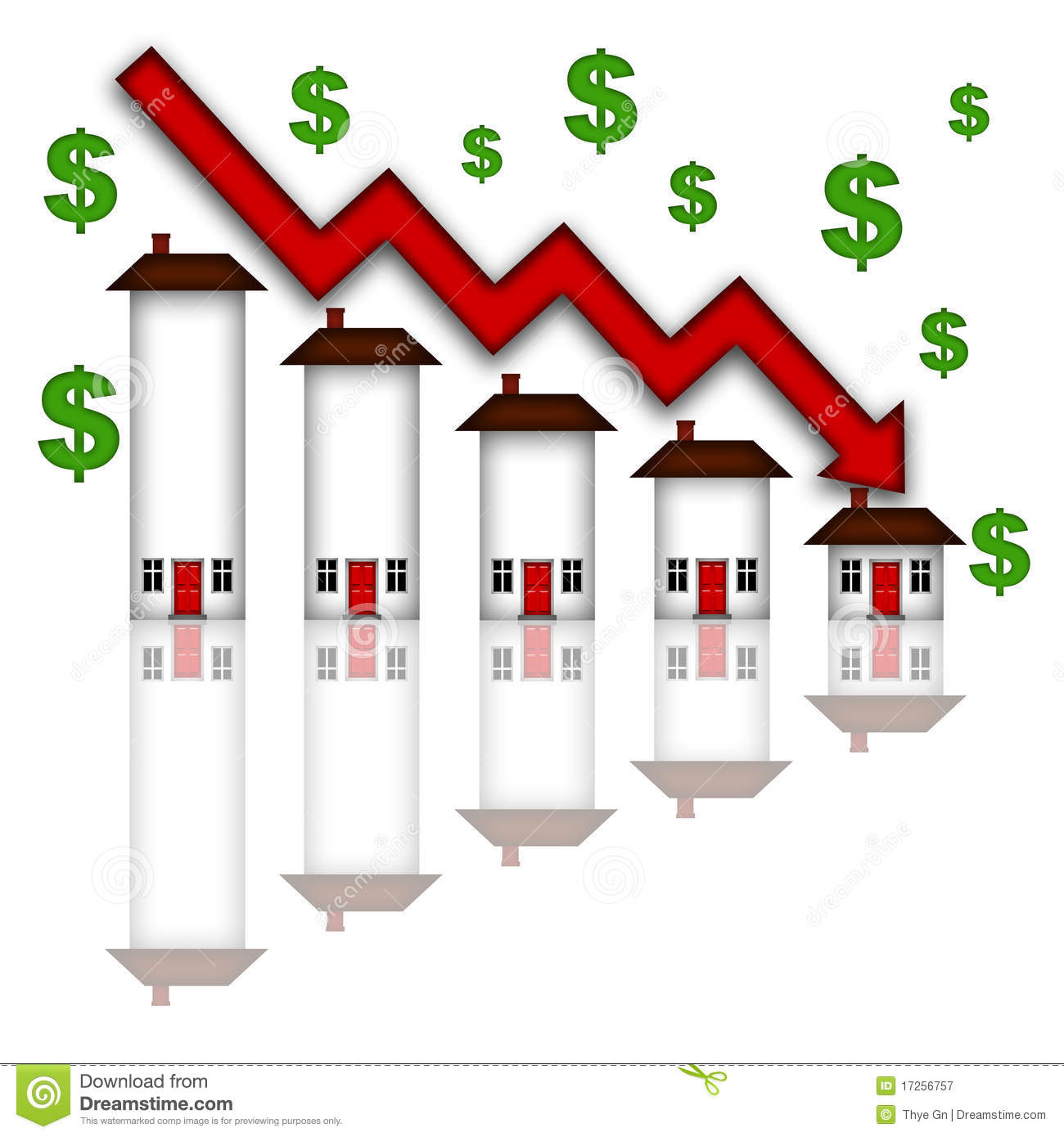 Real estate home values going down graph chart white background