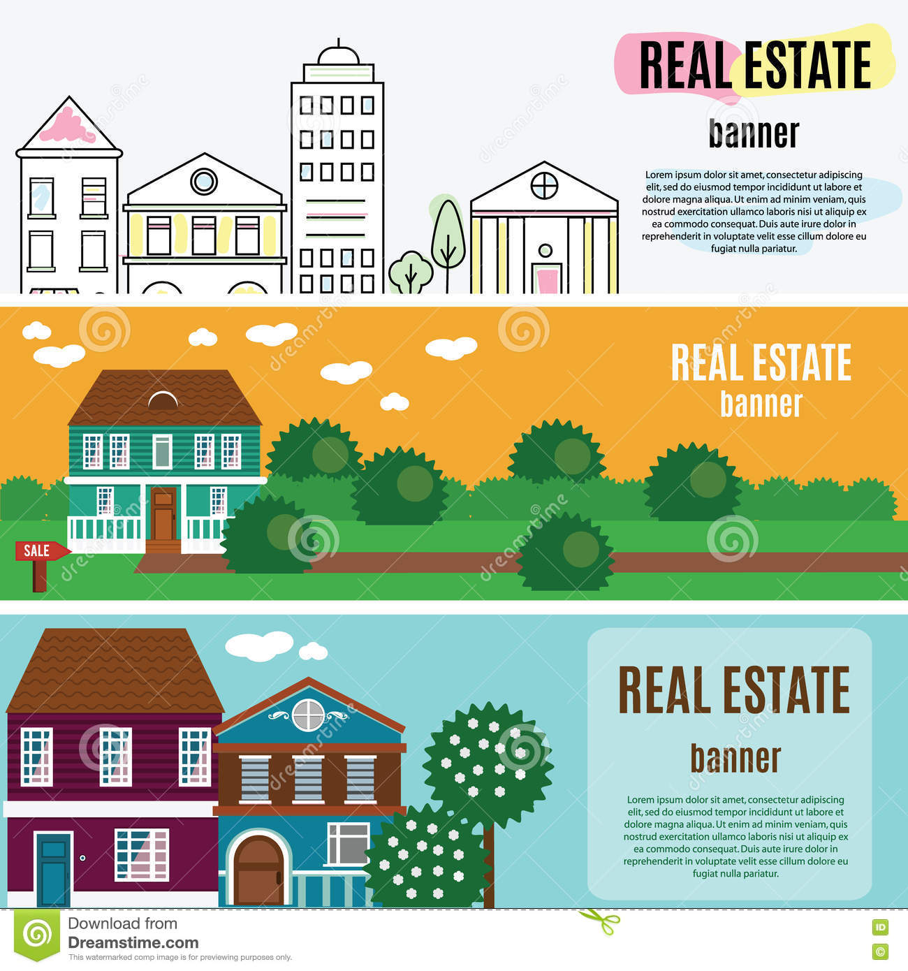 Real estate horizontal banners. House, cottage, townhouse, home vector illustration