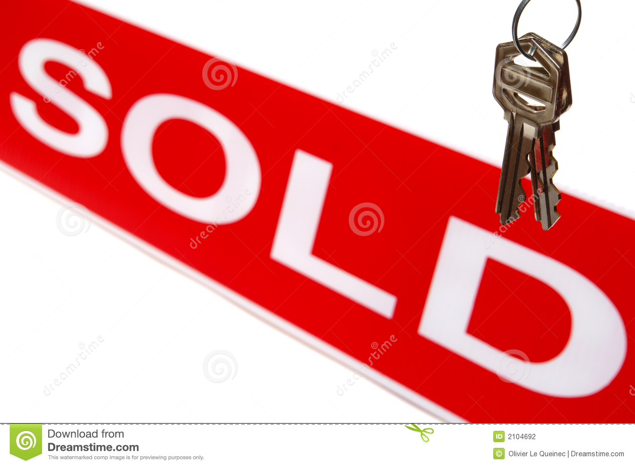 Real Estate House Keys and Realtor Sold Sign