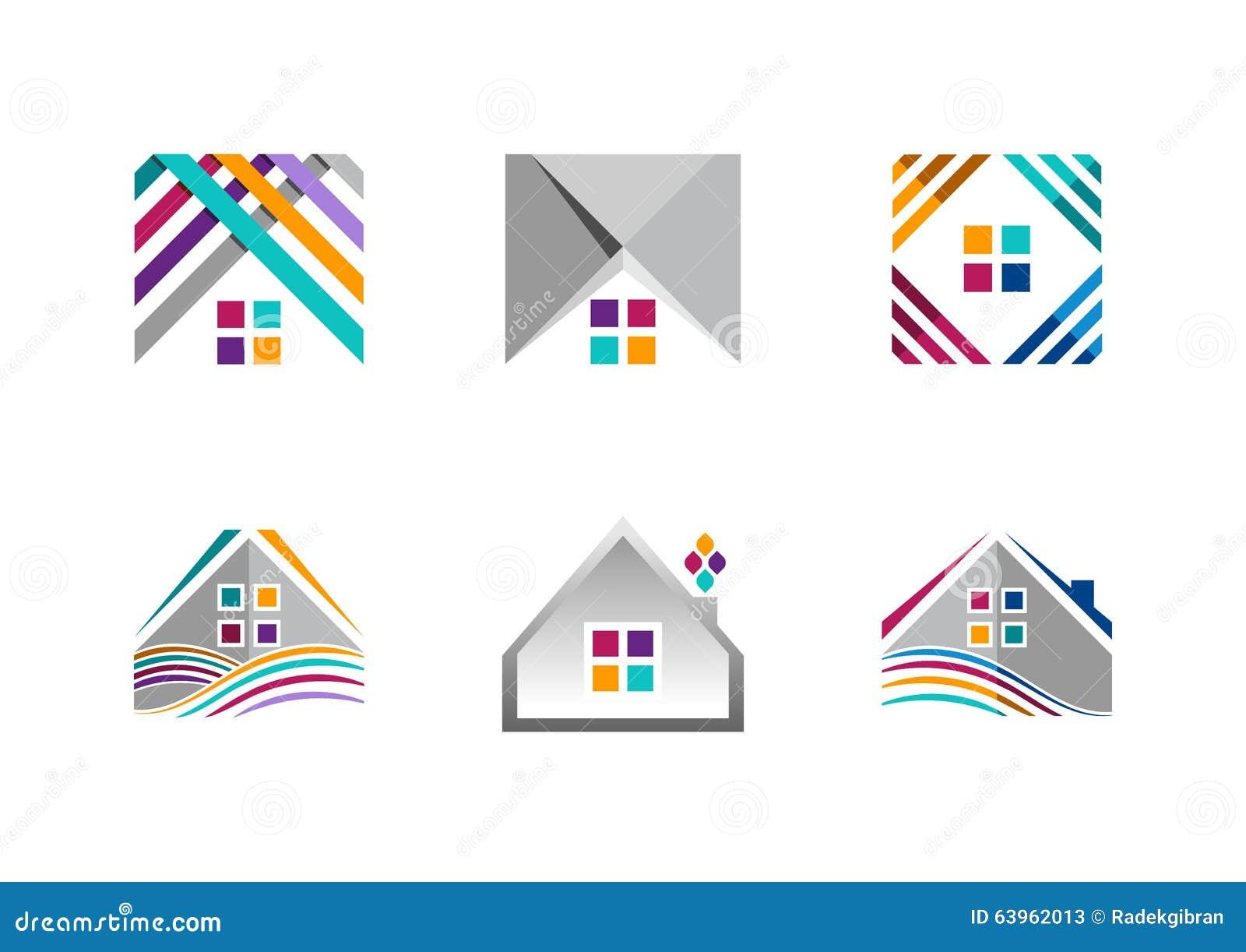 Real estate house logo building apartment icons for Apartment logo design