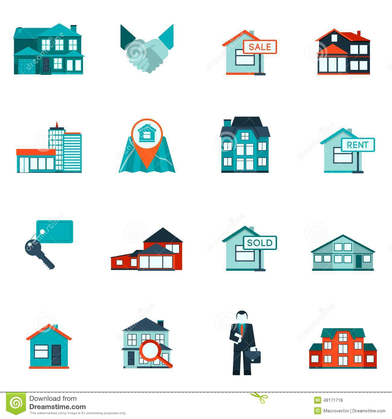 Nyc Classifieds Apartments: Real Estate Icon Flat Stock Vector. Illustration Of