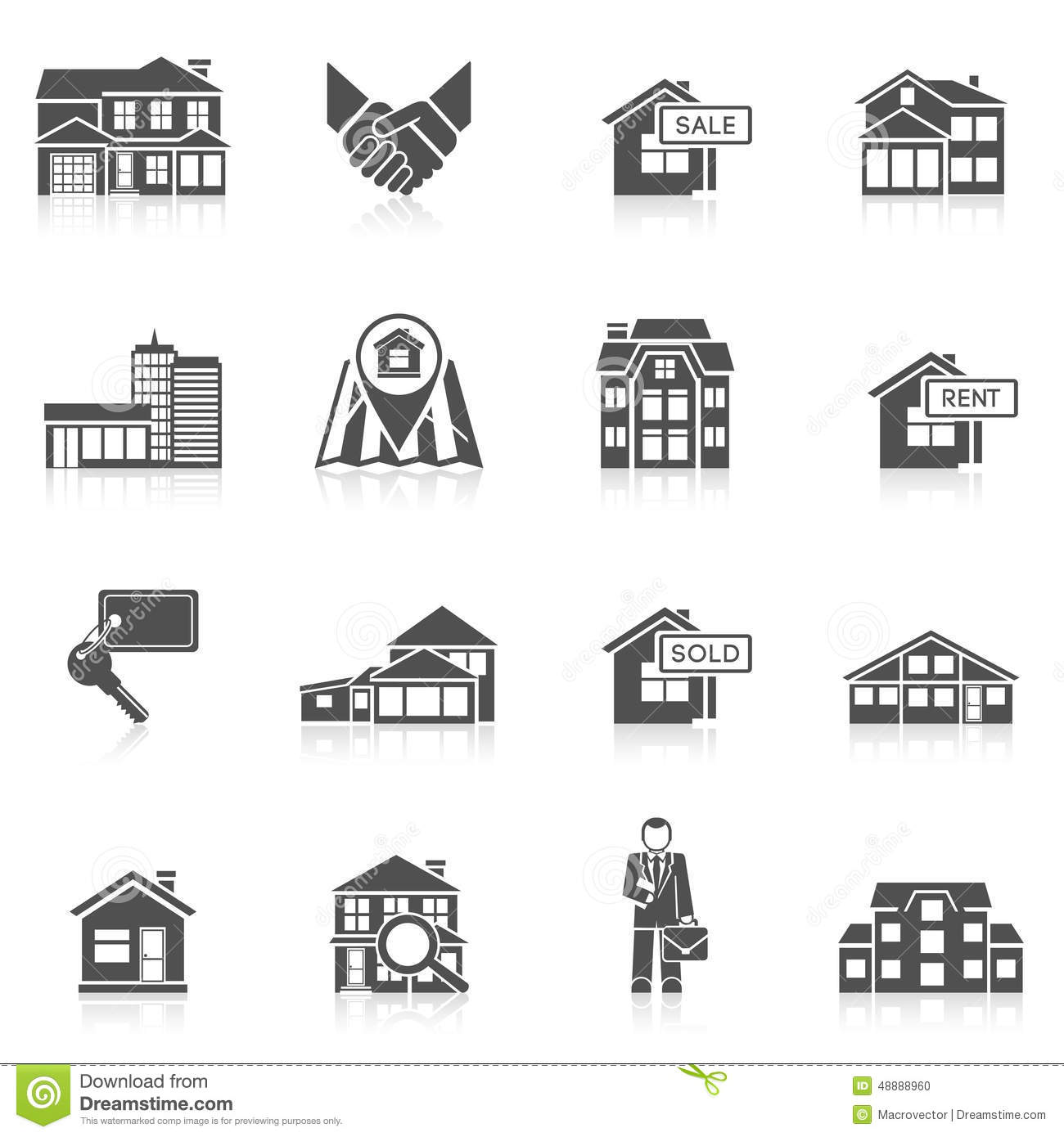 Real Estate Icon Set Stock Vector