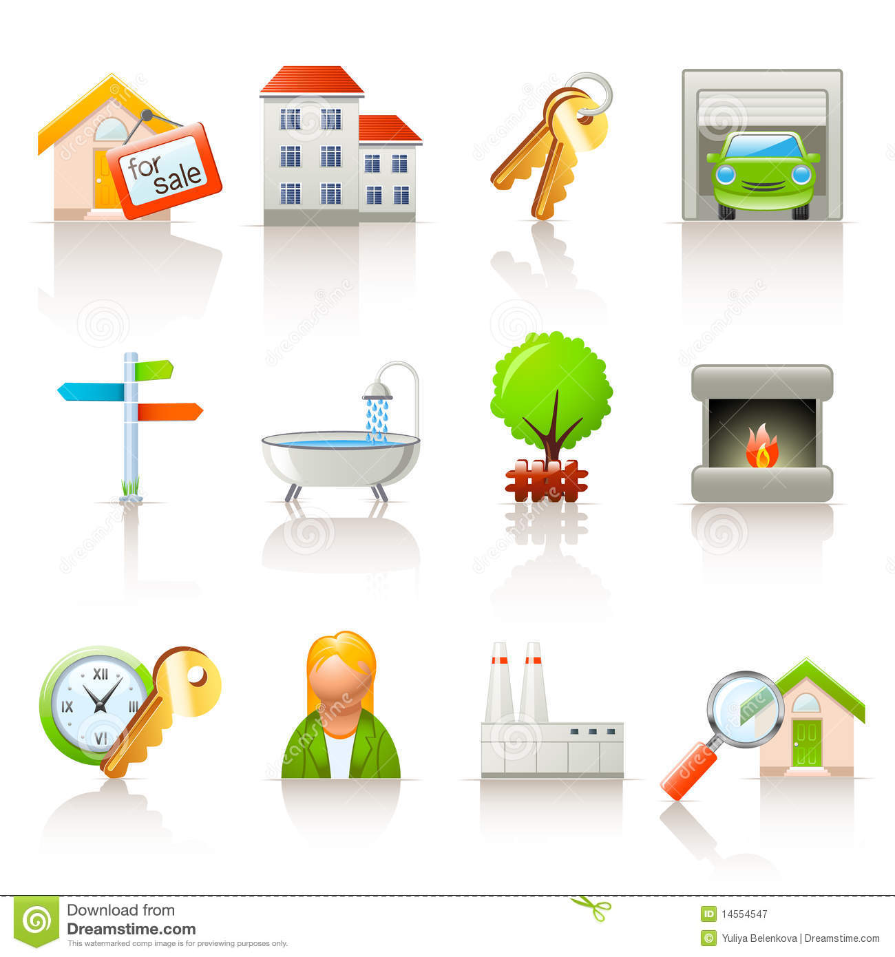 Download Real estate icons stock vector. Illustration of property - 14554547