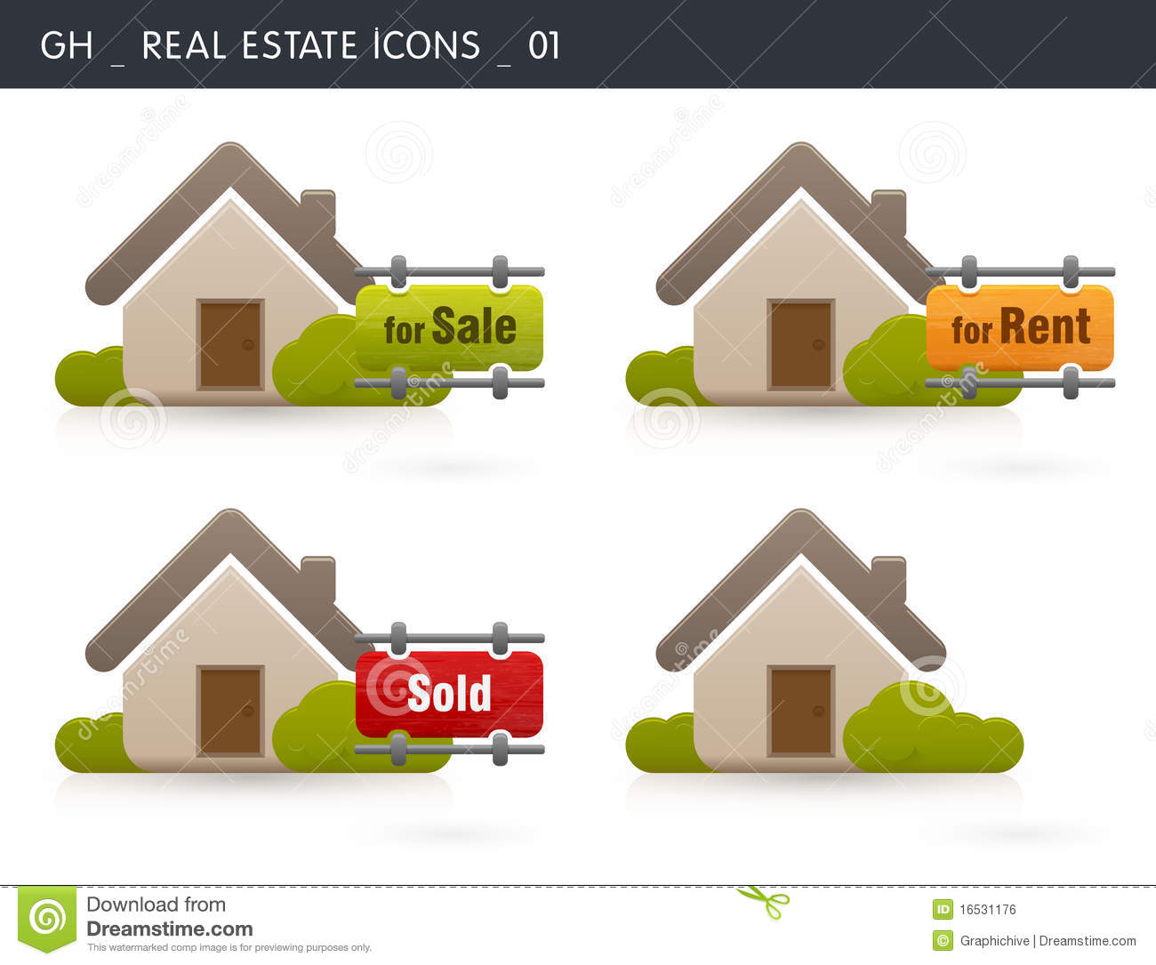 Houses For Rent Website: Real Estate Icons Stock Illustration. Illustration Of Sale