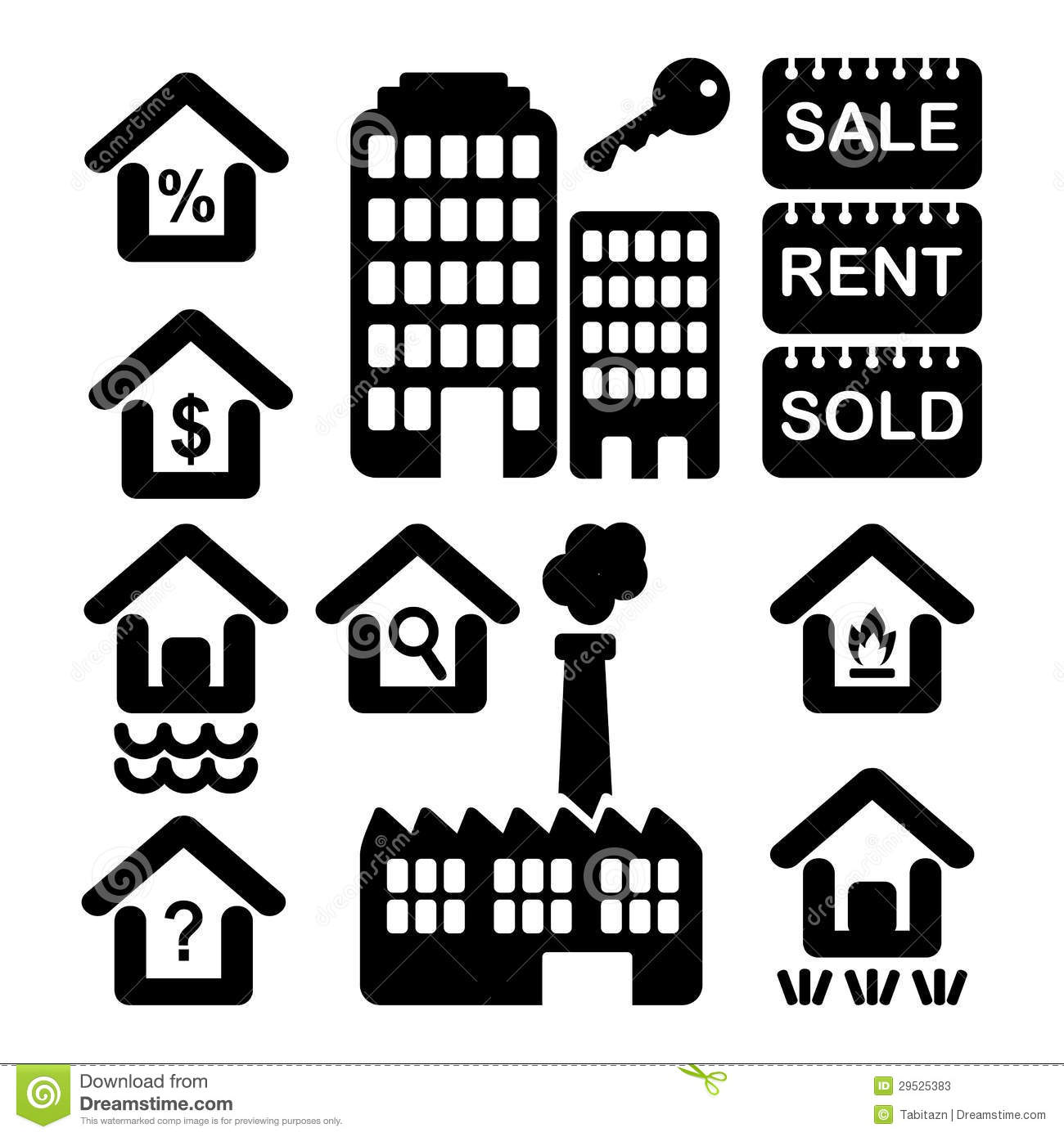 House Icons Showing Real Estate Stock Photo