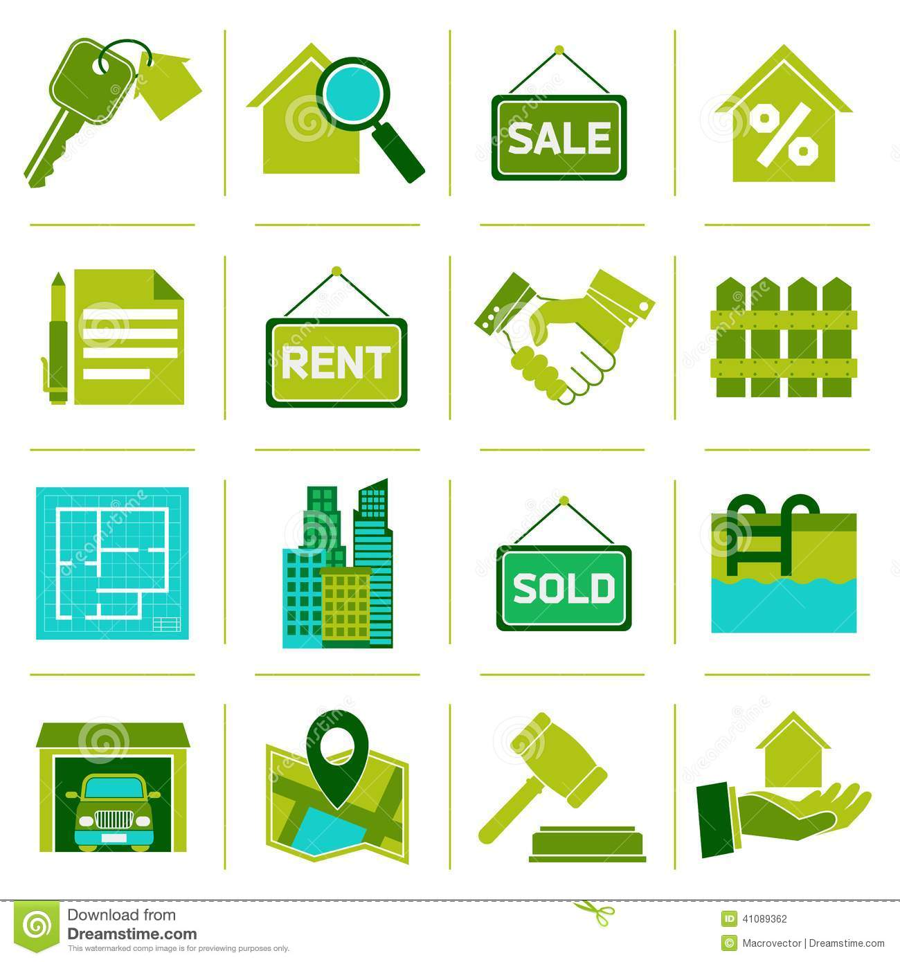 real estate icons green stock vector image of garage