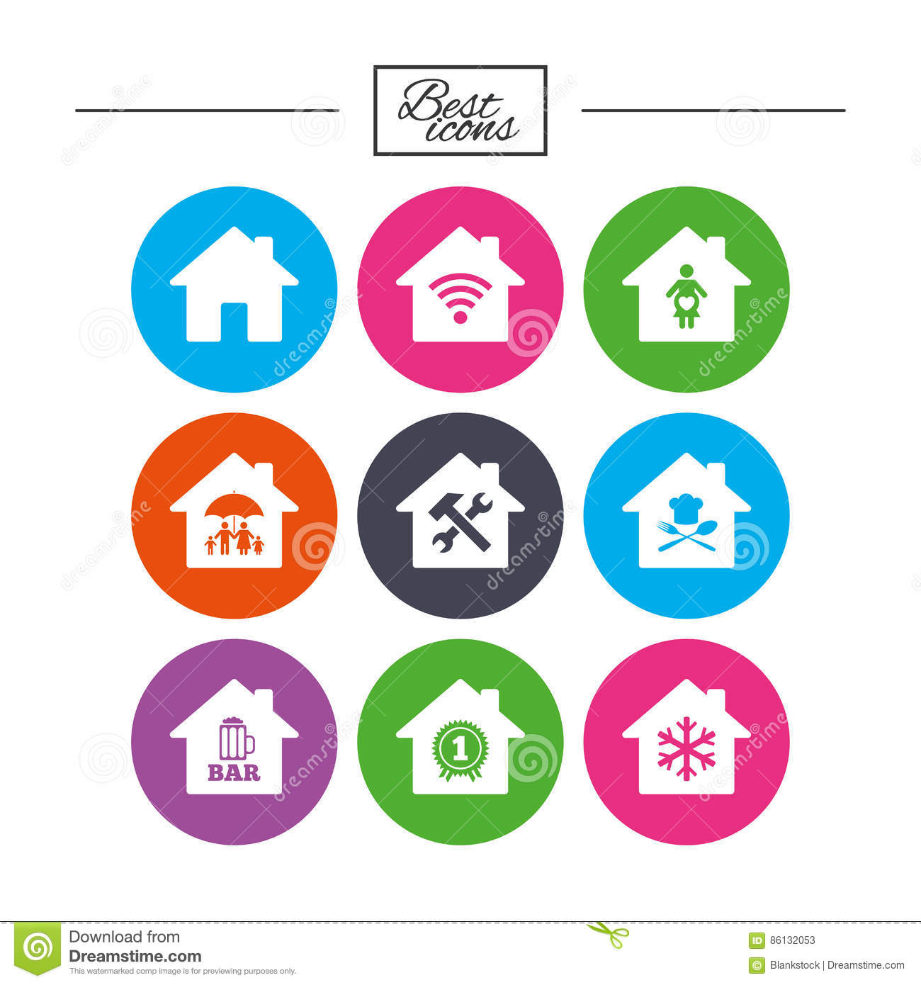 Real Estate Icons Home Insurance Sign Stock Vector Illustration