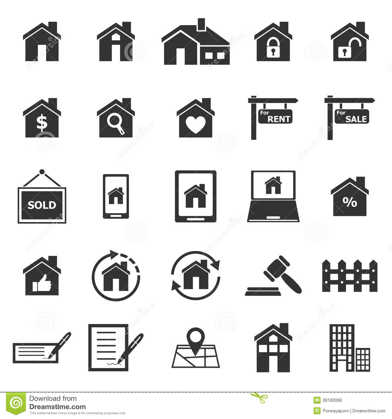 Real Estate Icons On White Background Royalty Free Stock