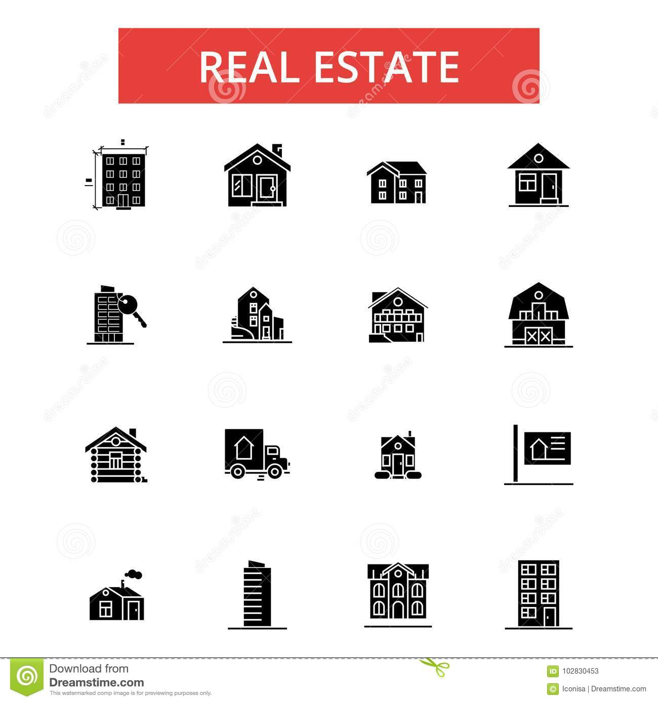Real Estate Illustration Thin Line Icons Linear Flat Signs Vector