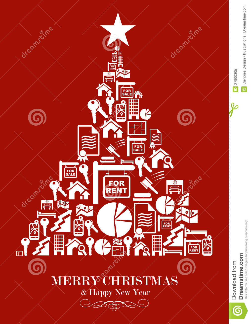 Real Estate Industry Christmas Tree Stock Vector - Illustration of ...