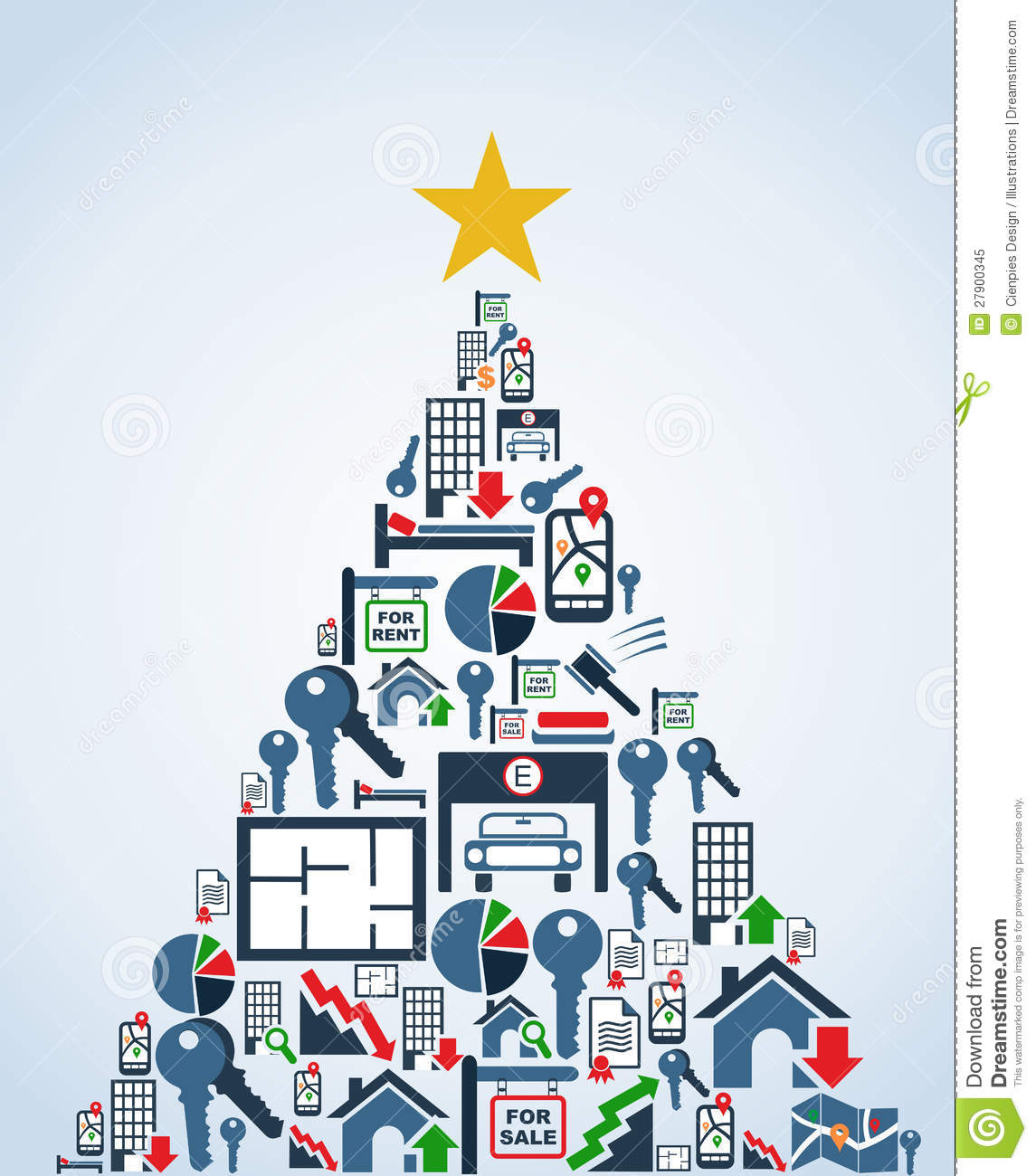 Real Estate Industry Icons Christmas Tree Stock Vector