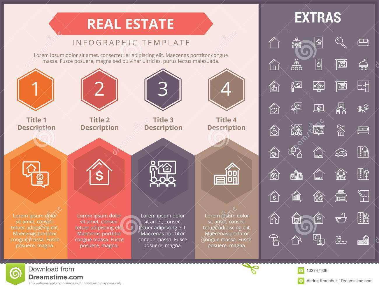 real estate infographic template elements icons stock vector