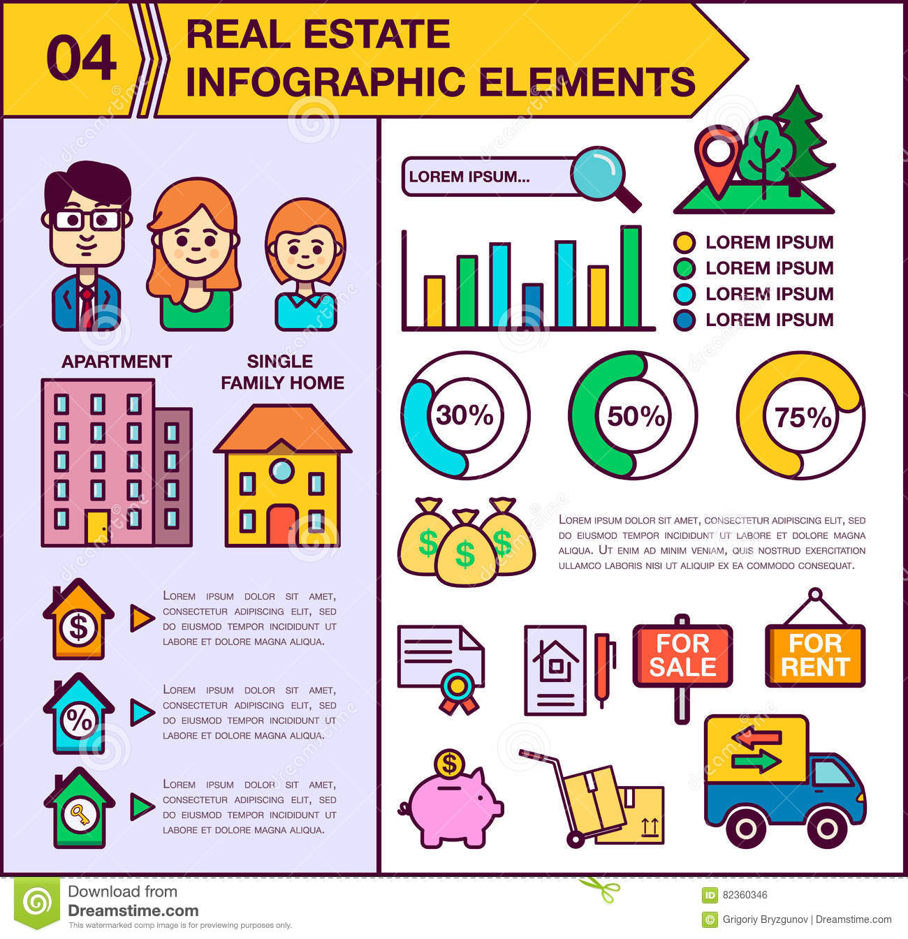 Real Estate infographic template and elements. The template includes illustrations of men, women and child. Modern