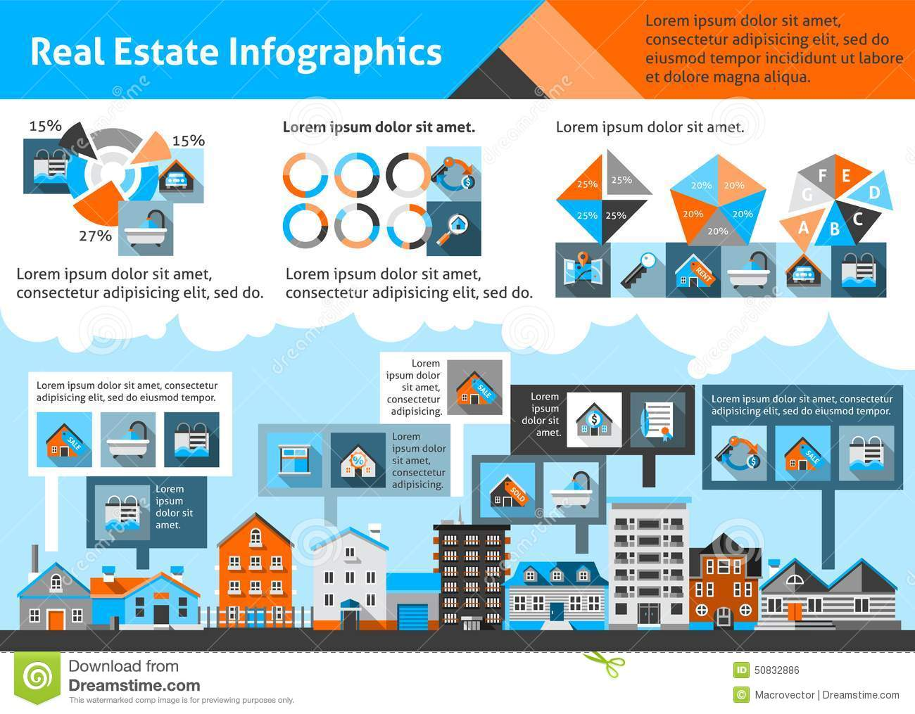Real Estate Infographics stock vector  Illustration of elements