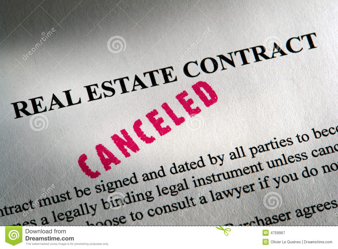 Real Estate Legal Contract with Canceled Ink Stamp