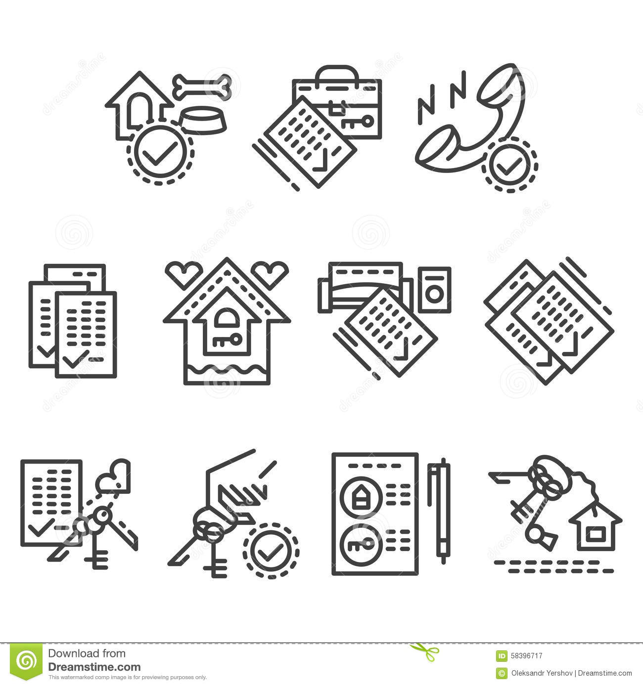 Apartment Rental Agency: Real Estate Line Icons Stock Image. Image Of Pictogram