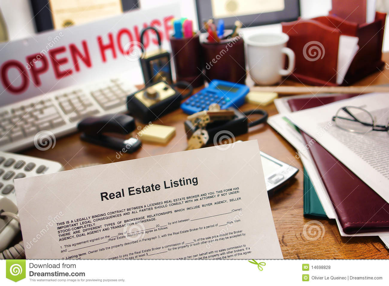 Real Estate Listing Sale Contract on Realtor Desk