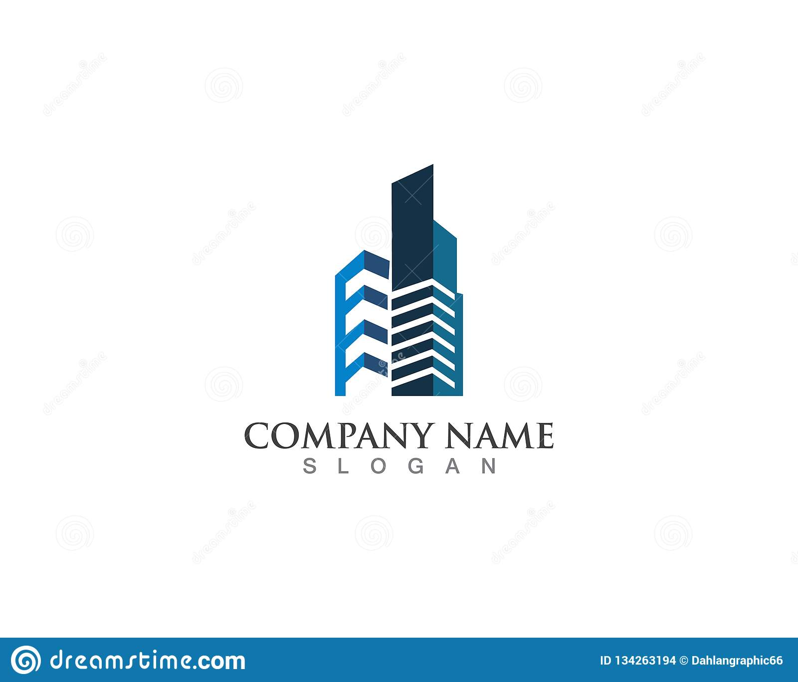 Real Estate Logo City Modern With Square Shape Stock