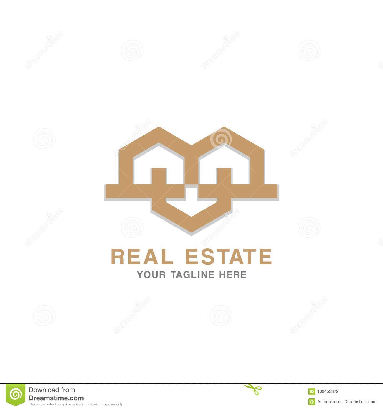 Real Estate Logo Design Concept And Business Card Template. Stock ...