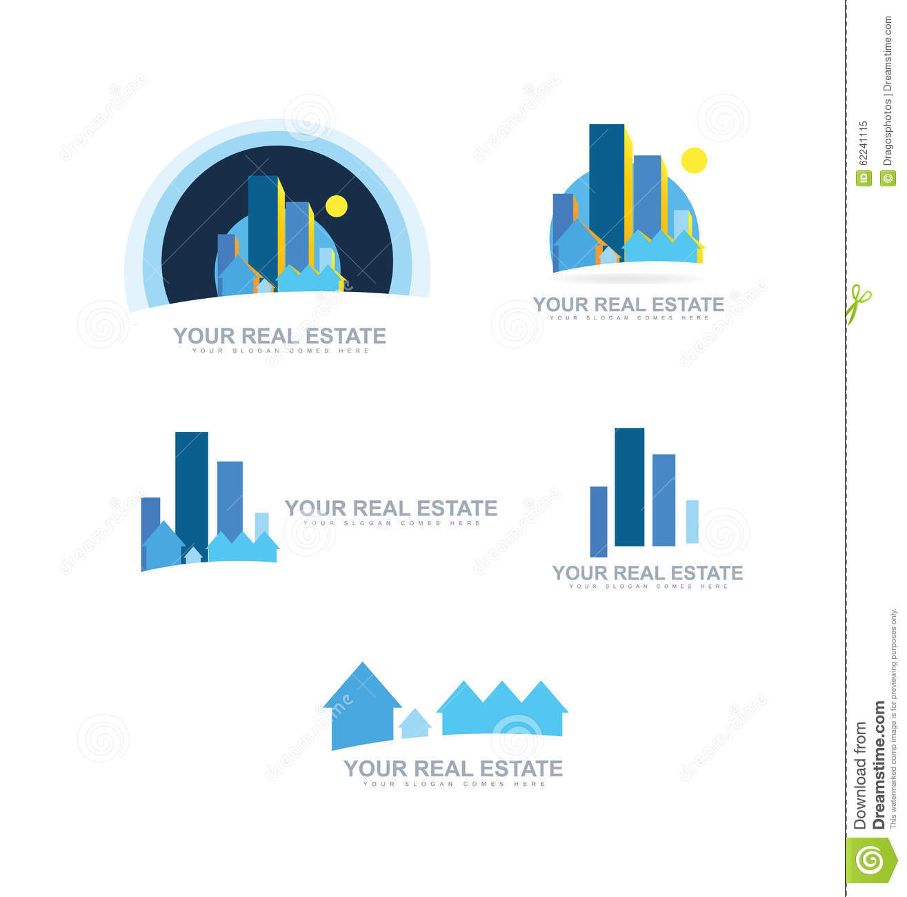Real estate logo icon set stock vector image 62241115 for Companies housse