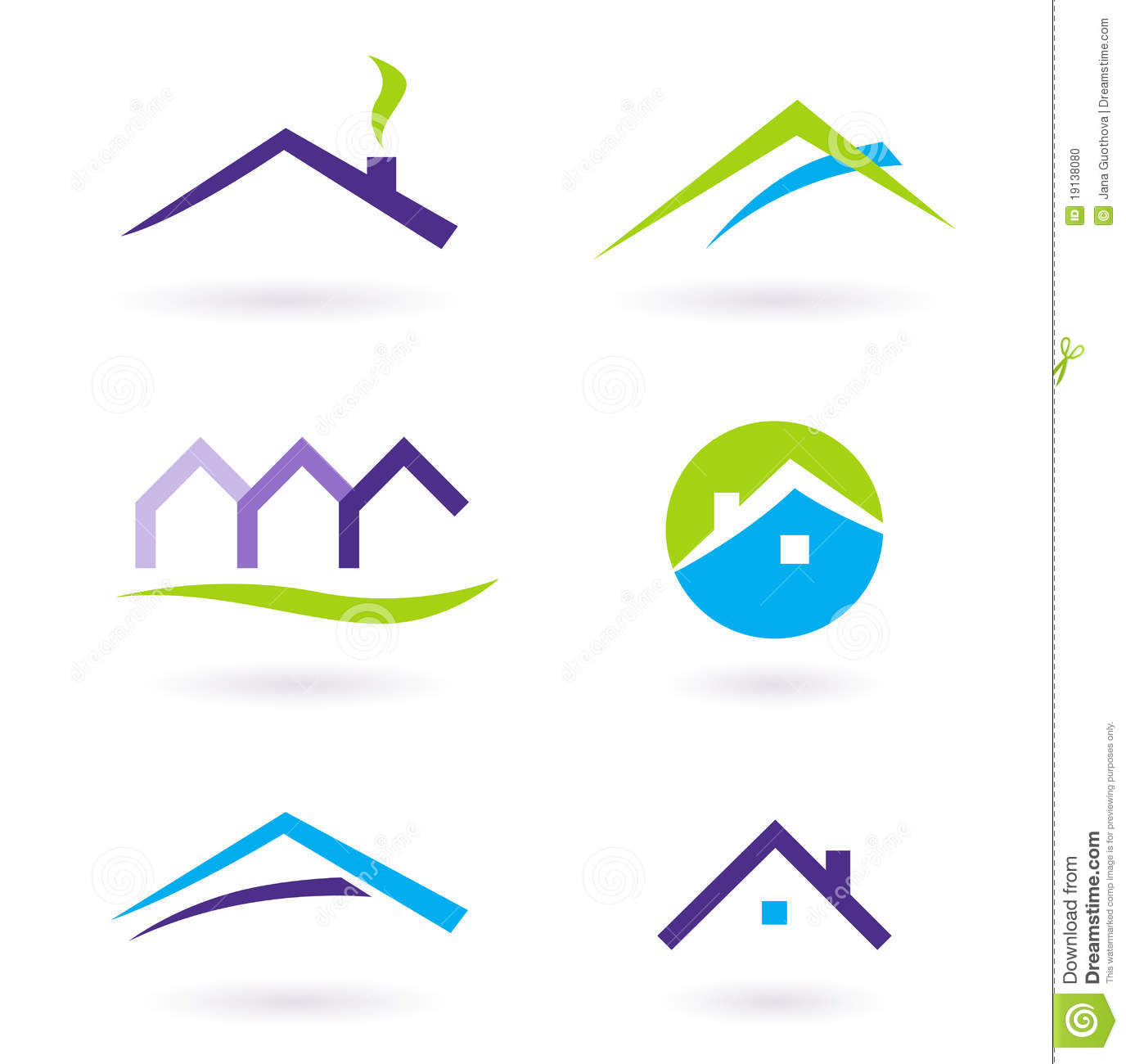 Real Estate Logo And Icons Vector - Purple Stock Photo - Image ...