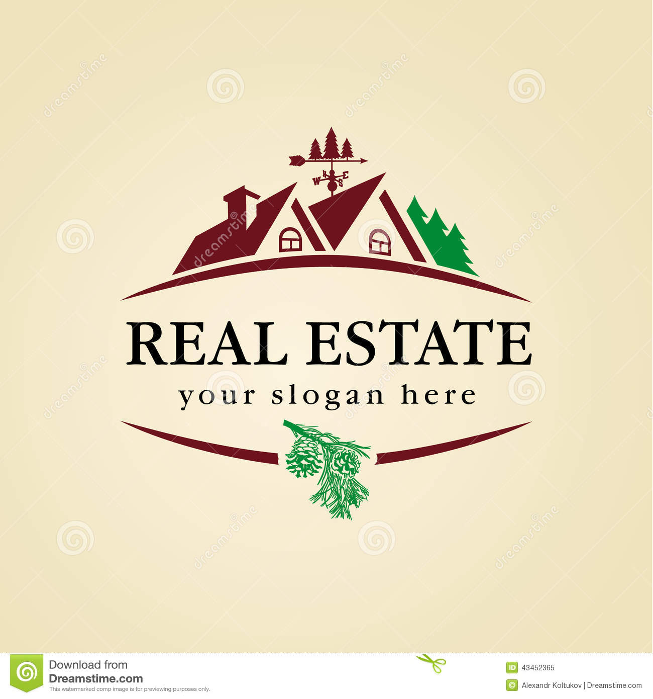 Real Estate Logo Wood Stock Vector