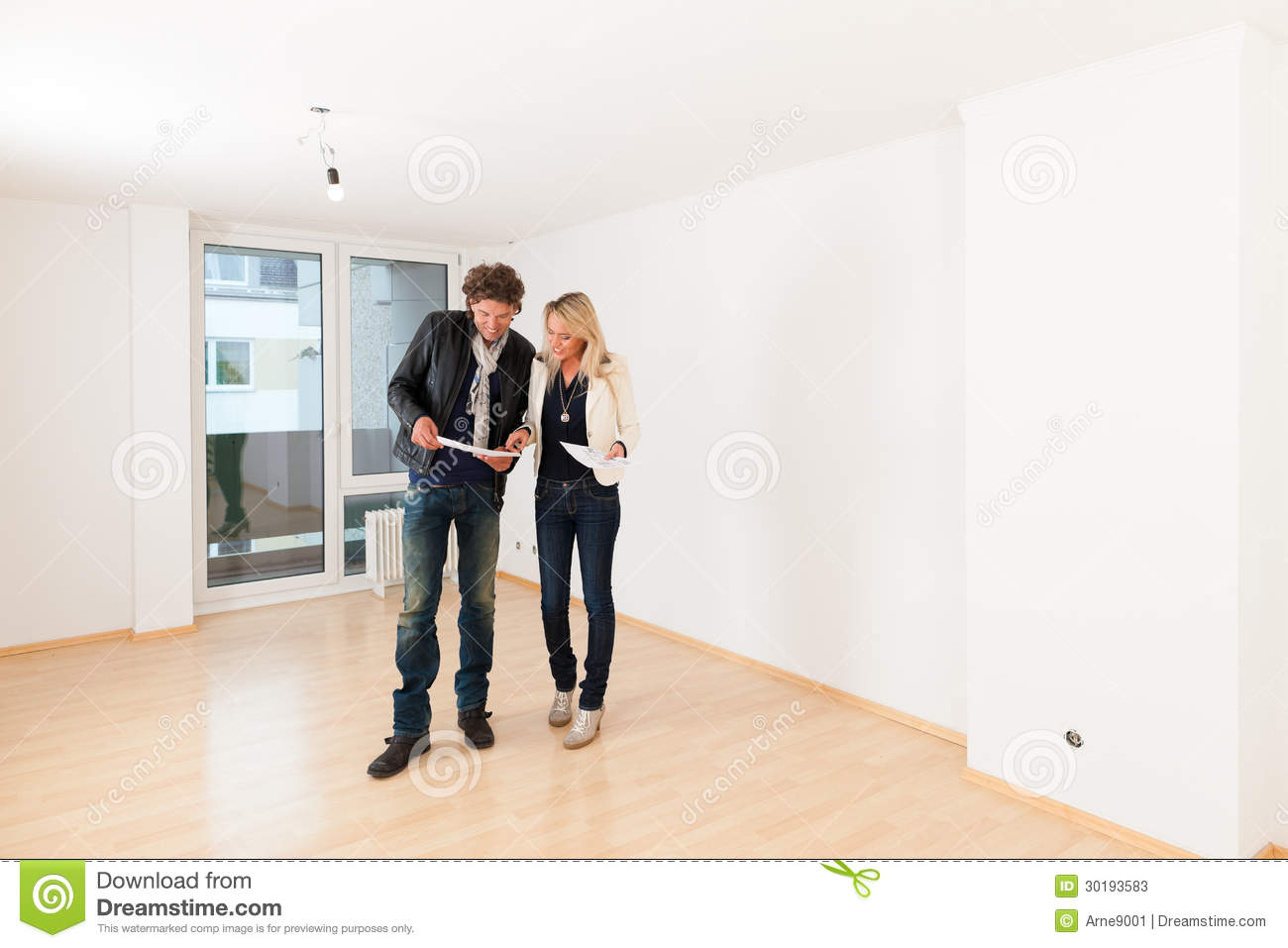 young couple looking for real estate stock photos image
