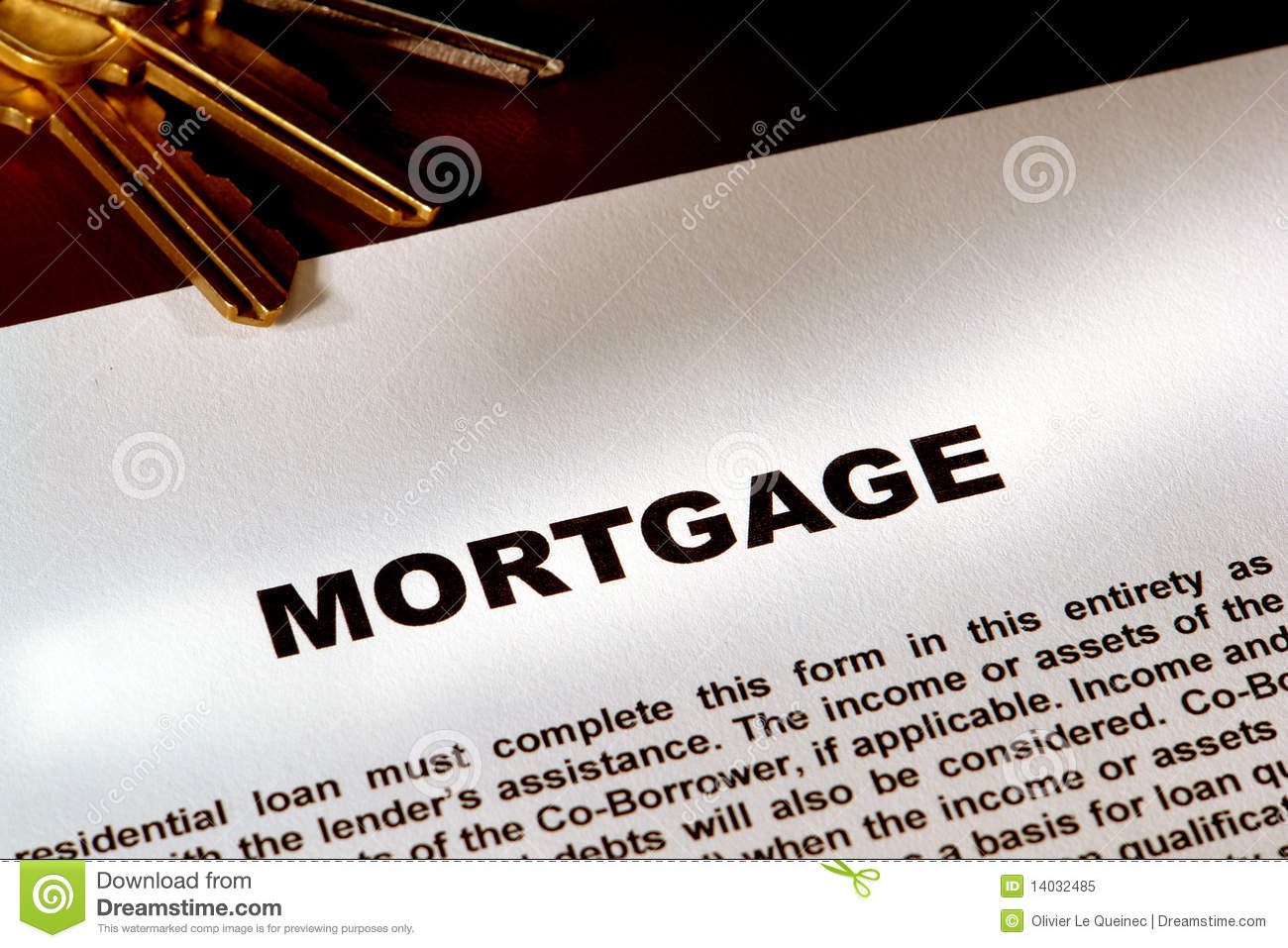 Real Estate Mortgage Document and Keys
