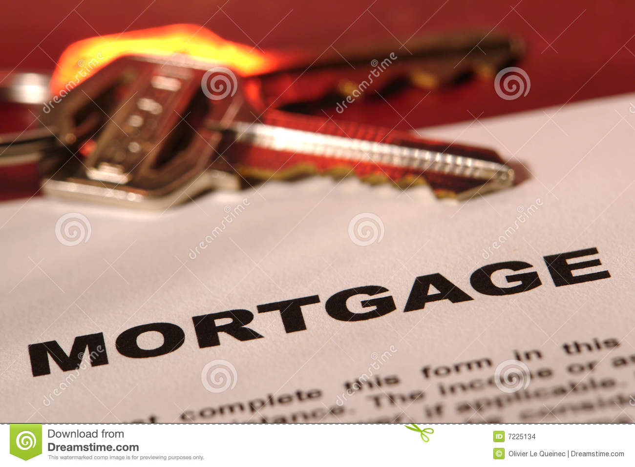 Real Estate Mortgage Loan Document with House Keys