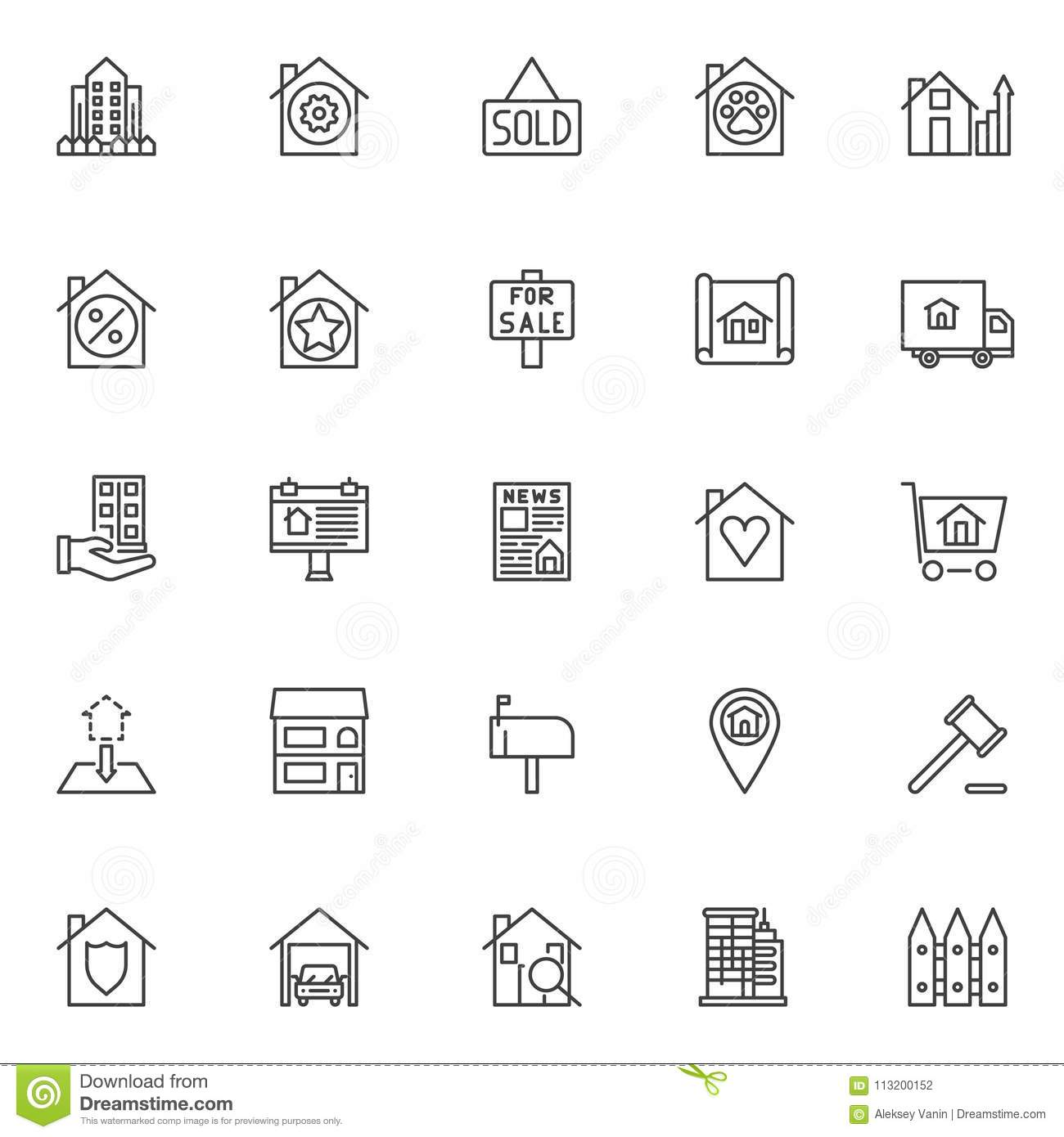 Real estate outline icons set stock vector illustration of real estate outline icons set linear style symbols collection line signs pack vector graphics set includes icons as building and fence sold house malvernweather Gallery