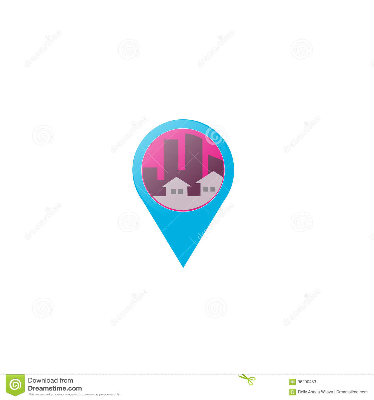 Real Estate Pin and Home Vector